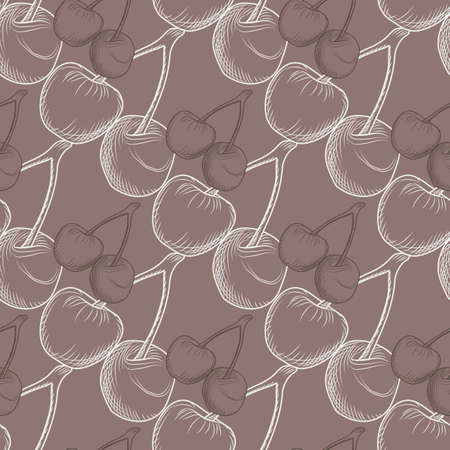 Outline cherry seamless pattern. White berries silhouette on light brown background. Simple wallpaper. Good for textile, wrapping paper, fabric print. Vector illustration.