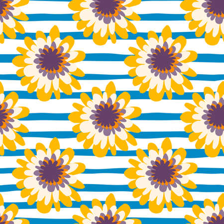 Flowers in yellow and white colors on white background with blue strips. Vector illustration. Designed for kids clothes, wrapping paper, wallpaper, textile print.