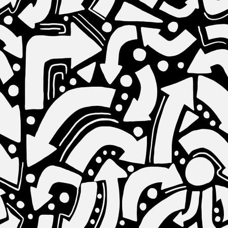 Geometric symbol arrow seamless pattern. White elements on black background. Monochrome design. Perfect for wrapping paper, wallpaper, textile, fabric. Vector illustration.