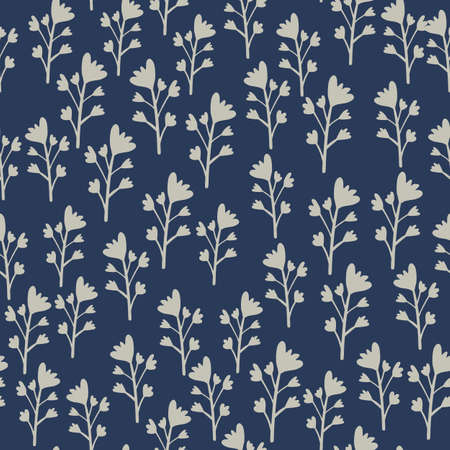 Little floral elements seamless pattern. Navy blue background and grey flowers and branches. Botanic backdrop. Great for wrapping paper, textile, fabric print and wallpaper. Vector illustration.