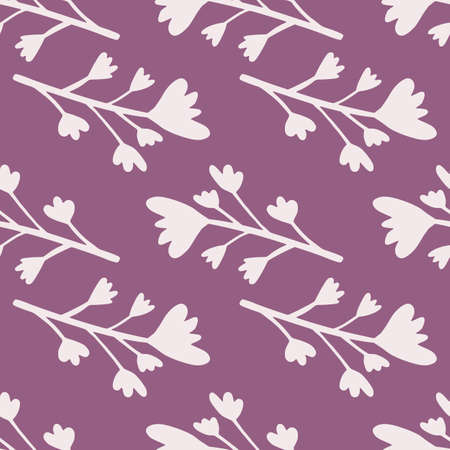 Floral seamless pattern with flowers and branches elements. Purple background with light botanic ornament. Designed for wallpaper, textile, wrapping paper, fabric print. Vector illustration.
