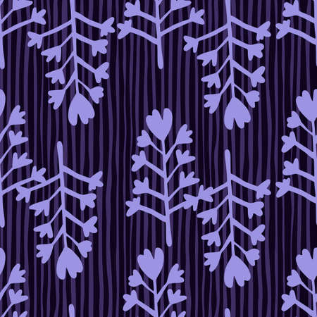 Seamless botanic pattern with flowers and branches elements. Dark vector background with strips and blue elements. Decorative backdrop for wallpaper, wrapping paper, textile print, fabric.