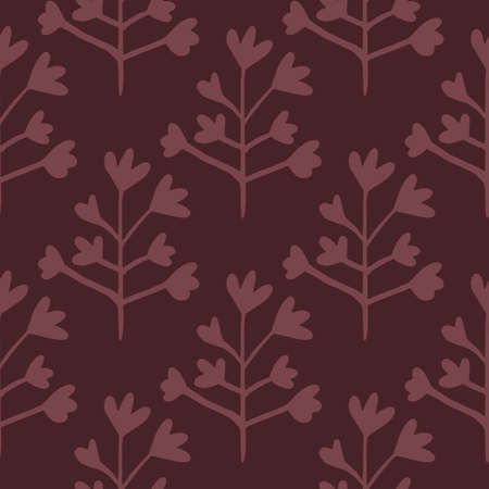Botanic floral silhouettes seamless pattern. Design in burgundy tones. Decorative backdrop for wallpaper, wrapping paper, textile print, fabric. Vector illustration. Illustration