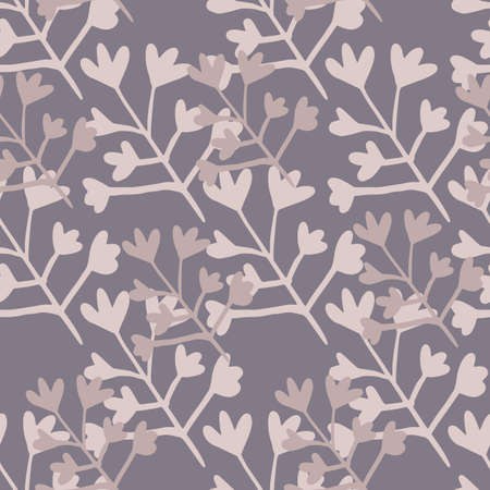 Random seamless pattern with floral elements. Botanic backdrop with purple and lilac tones. Great for wrapping paper, textile, fabric print and wallpaper. Vector illustration.
