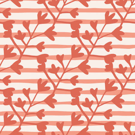 Seamless botanic pattern with coral floral silhouettes. White background with lines. Simple design. Great for wrapping paper, textile, fabric print and wallpaper. Vector illustration.