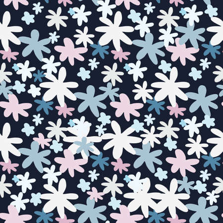 Bright daisy flower seamless pattern with black background. White and blue floral random ornament. Creative print for fabric design, textile, wrapping, cover, wallpaper. Vector illustration.