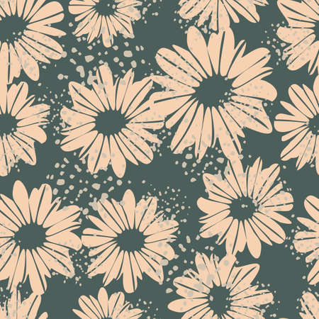 Random seamless pattern with daisy flowers. Grey background with splashes and pastel pink botanic elements.