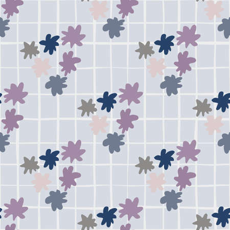 Star shapes triangles ornament seamless pattern in purple and lilac tones. Blue background with check. Illustration
