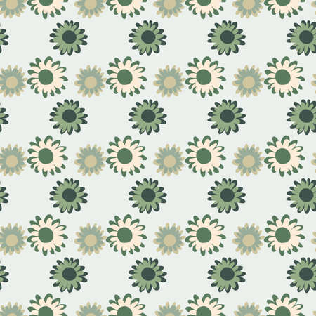 Pastel green and grey tones flower seamless pattern. Simple backdrop with pastel blue background.