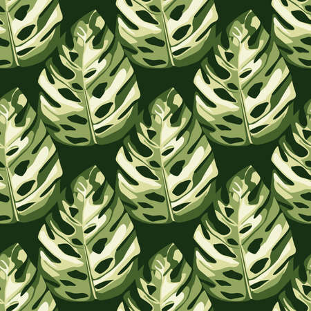 Botanic seamless pattern with monstera leafs in white and green colors. Floral backdrop.