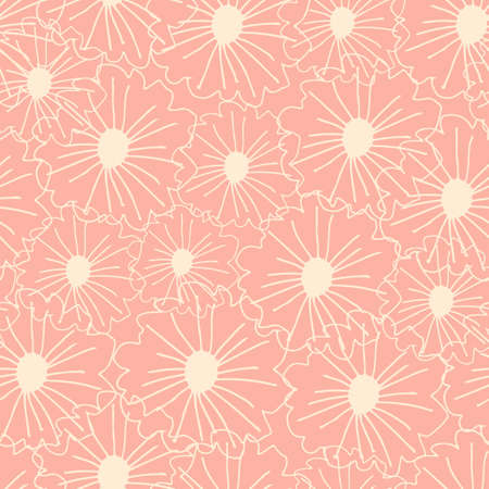 Outline contoured daisy seamless pattern. White daisies on pastel light pink background. Illustration