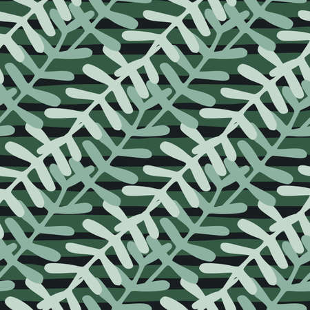Seamless floral pattern in green and grey colored elements on dark background.