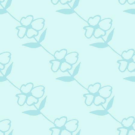 Monochrome botanic design in blue colors. Seamless minimalistic pattern.