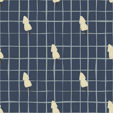 Christmas seamless pattern with little light trees on dark blue chequered background.