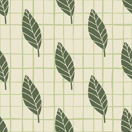 Dark green geometric leaves seamless pattern. Light pastel background with check. Floral simple design.