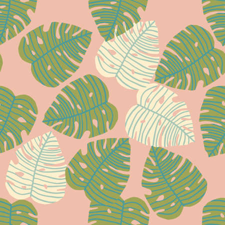 Random monstera leaves in green and white colors on pastel pink background. Seamless herbal pattern. Illustration