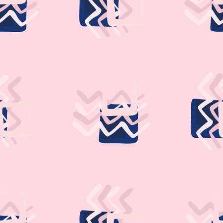 Pink and blue abstract elements on light pink background. Seamless pattern. Illustration