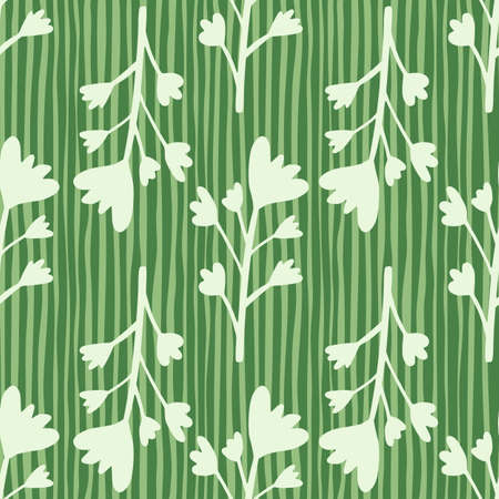 Seamless pattern floral branches. Light grey botanic elements on lined green background.