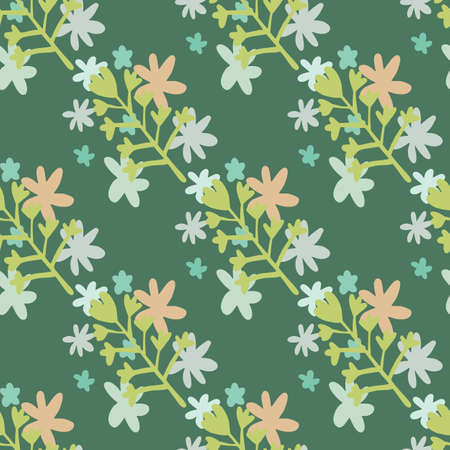 Botanic seamless pattern with green flowers silhouettes and little daisy elements in blue and pink colors. Green background. Illustration