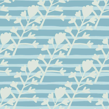Seamless floral pattern with botanic elements in blue and light tones. Simple design. Illustration