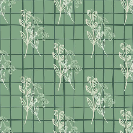 Herbal hand drawn seamless pattern with white flowers. Black check on pastel green background.