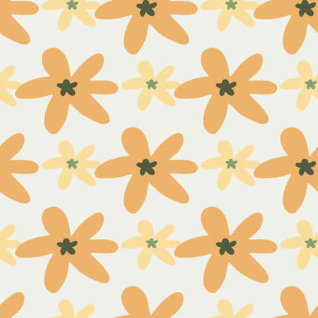 Floral seamless pattern with small and middle daisy flowers in orange and beige tones.