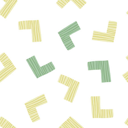 Isolated random pattern design in yellow and green corners. White background.
