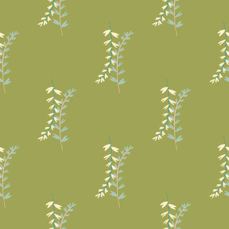 Floral seamless background with yellow and green branches. Olive background. Botanic backdrop. Illustration