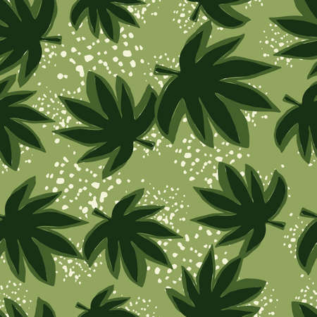 Seamless pattern with hemp leaves on grunge background. Botanical wallpaper.