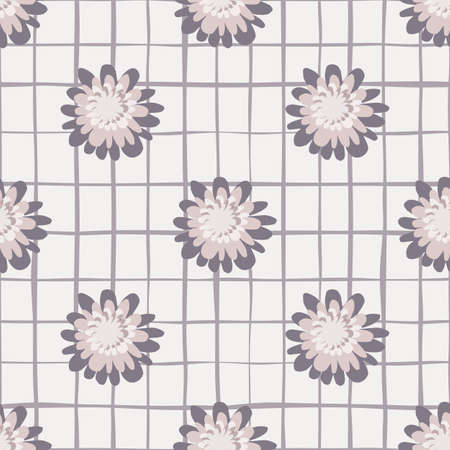Seamless herbal pattern with chequered white background in purple and lilac colors.