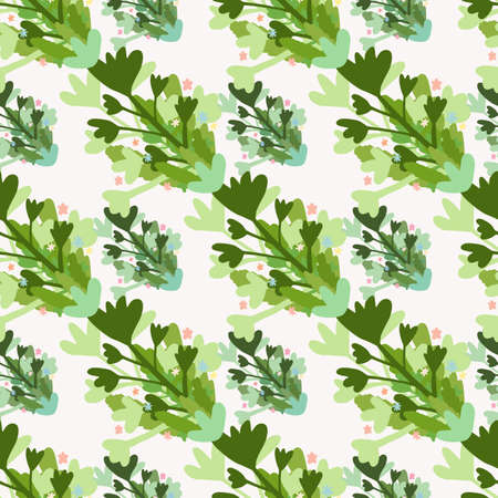 Isolated seamless floral pattern with bouquet of branches and leafs. Green and blue color ornament on white background.