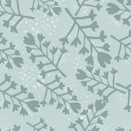 Winter seamless pattern in blue colors. Flowers and branches silhouettes with splashes. Illustration
