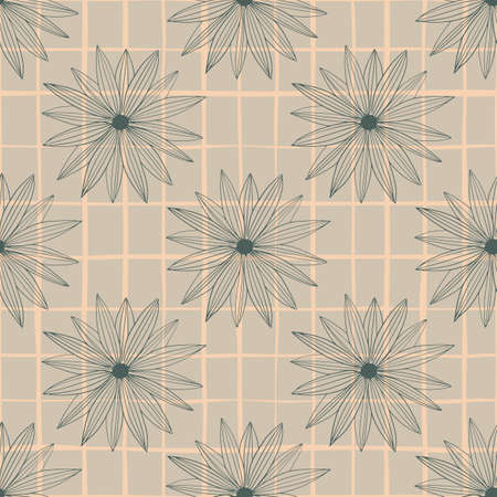 Hand drawn seamless pattern on purple backdrop with check. Vintage floral background.