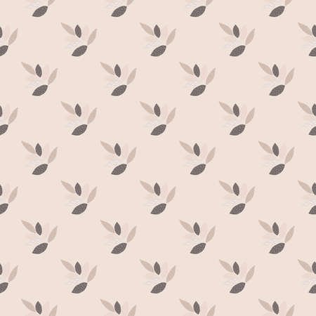 Seamless pattern with leafs ornament in lilac and purple colors. Floral pink background.