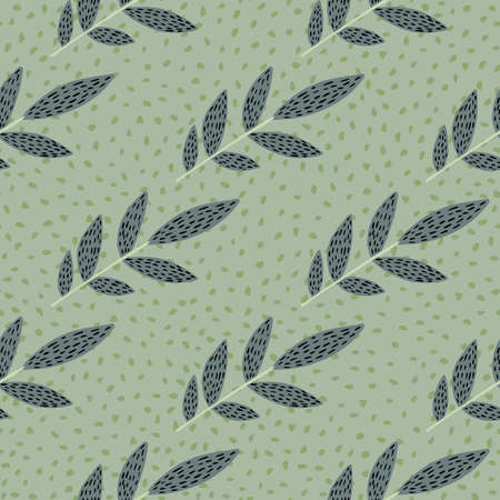 Pastel scandinavian print pattern with dashed branches. Light green background with dots. Illustration