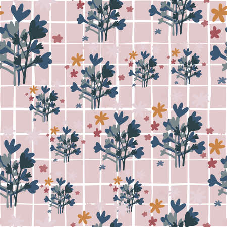 Random seamless botanic pattern with dark gray and blue floral silhouettes. Pastel lilac background with check. Vector illustration for textiles, wallpaper, surface design, card, wedding invitations.