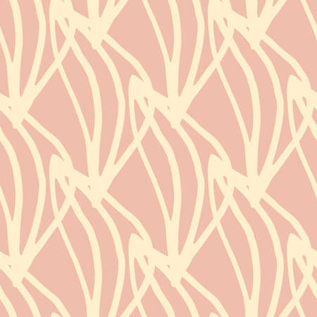 Floral seamless pattern with botanical leafs. Herbal elements in beige color on pink background. Modern design for fabric, textile print, wrapping paper. Vector illustration Vetores