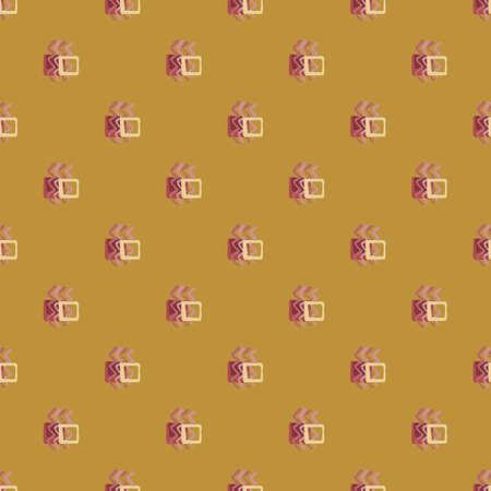 Geometric abstract pattern with zigzag elements and squares. Design in ocher and pink colors. Vector illustration. Print for kids clothes, wrapping paper, wallpaper, textile. Stock Illustratie