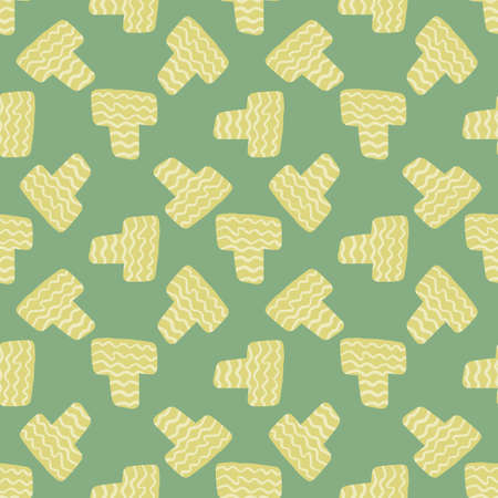 Random seamless pattern with yellow elements and light green background. Decorative backdrop for fabric design, textile print, wrapping, cover. Vector illustration.