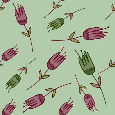 Random seamless pale pattern with contoured tulip flowers shapes in green and purple colors. Light pastel background. Designed for wallpaper, textile, wrapping, fabric print. Vector illustration.