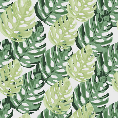 Hand drawn monstera leafs elements seamless pattern. Great for wrapping paper, textile fabric print and wallpaper. Vector illustration.