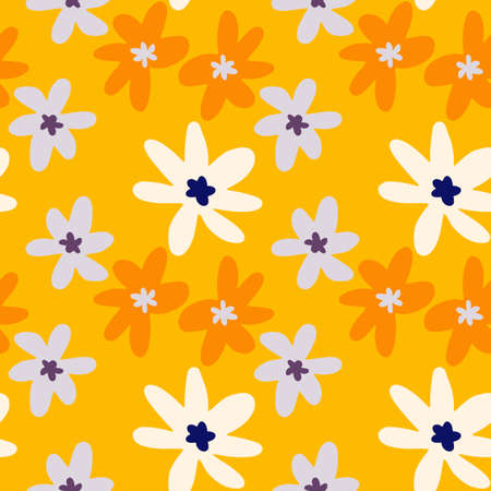 Random seamless doodle pattern with chamomile flowers. Bright floral backdrop with yellow background and orange, blue, white daisies. Vector illustration for textiles, wallpaper, wedding invitations.