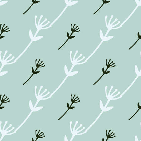 Flower abstract figures seamless doodle pattern. White and black branch silhouettes on light blue background. Decorative print for wallpaper, wrapping paper, textile print, fabric. Vector
