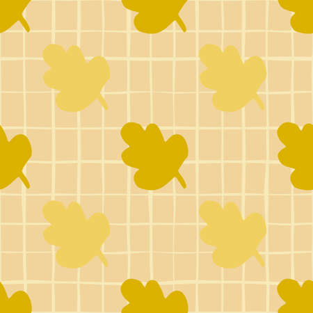 Fall seamless leaves abstract pattern. Yellow and ocher floral elements on beige background with check. Decorative print for wallpaper, wrapping paper, textile print, fabric. Vector illustration.