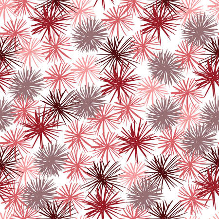 Seamless pattern with abstract sea urchin silhouettes. Isolated ocean backdrop with pink, red and maroon color pompon elements. For wallpaper, textile, wrapping, fabric print. Vector illustration.