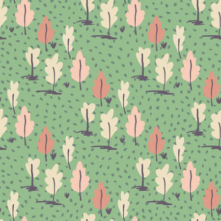 Hand drawn tree ornament seamless pattern. Simple forest elements in pink tones on green dotted background. Decorative print for wallpaper, wrapping paper, textile print, fabric. Vector illustration.