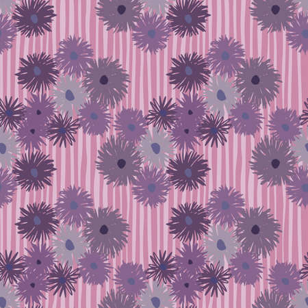 Seamless pattern with hand drawn chrysanthemum ornament. Lilac stripped background. Floral backdrop. Decorative print for wallpaper, wrapping paper, textile print, fabric. Vector illustration.