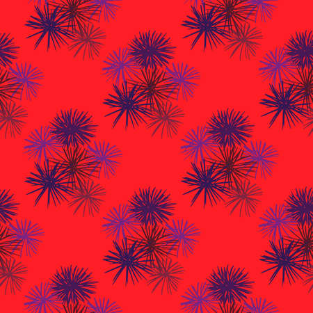 Bright seamless pattern with tropical sea urchins. Purple exotic silhouettes on red background. Decorative print for wallpaper, textile, wrapping paper, fabric print. Vector illustration.