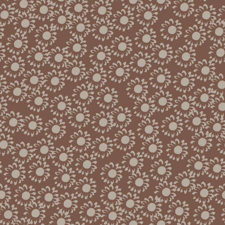 Random seamless pattern with small flowers on brown background. Great for fabric, textile, wrapping paper, wallpaper. Vector illustration.