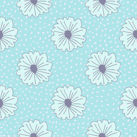 Floral seamless pattern with daisy flowers. Blue background with dots. Outline contoured botanic elements. Modern design for fabric, textile print, wrapping paper. Vector illustration